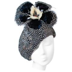 JACK MCCONNELL Navy & Oatmeal Spotted Feather Hat with Rhinestones