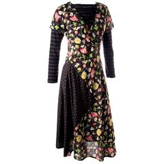Junya Watanabe Comme Des Garcons Floral and Stripe Layered Dress