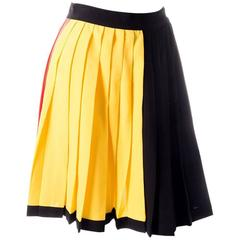 Gianni Versace 90s Colorblock Pleated Skirt