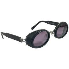 New Vintage Matsuda 10615 Black Matte Oval 1990's Made in Japan Sunglasses