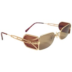 New Vintage Matsuda 10611 Matte Gold Side Cups 1990's Made in Japan Sunglasses