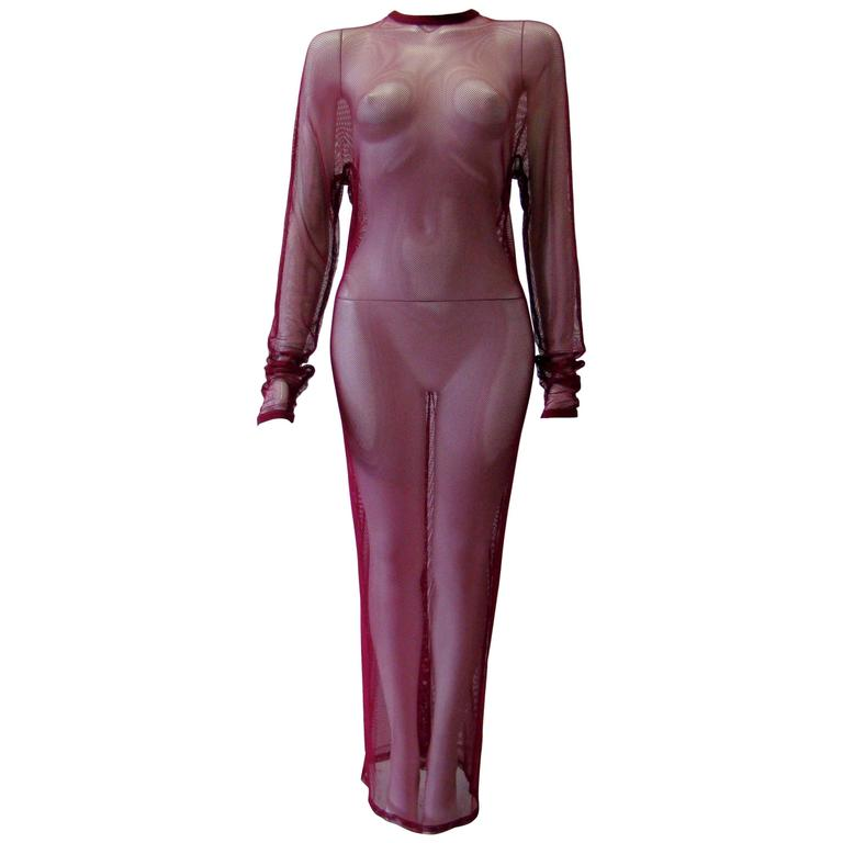 Unique Gianni Versace Net Magenta Dress Fall 1993-1994
