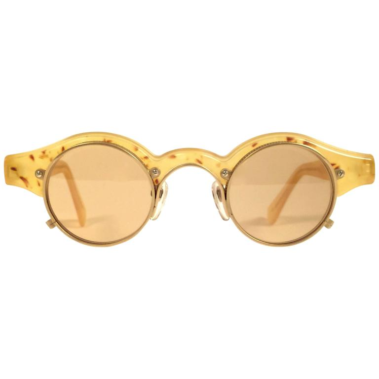 New Vintage Matsuda 10605 Yellow & Gold Collector 1990 Made in Japan Sunglasses