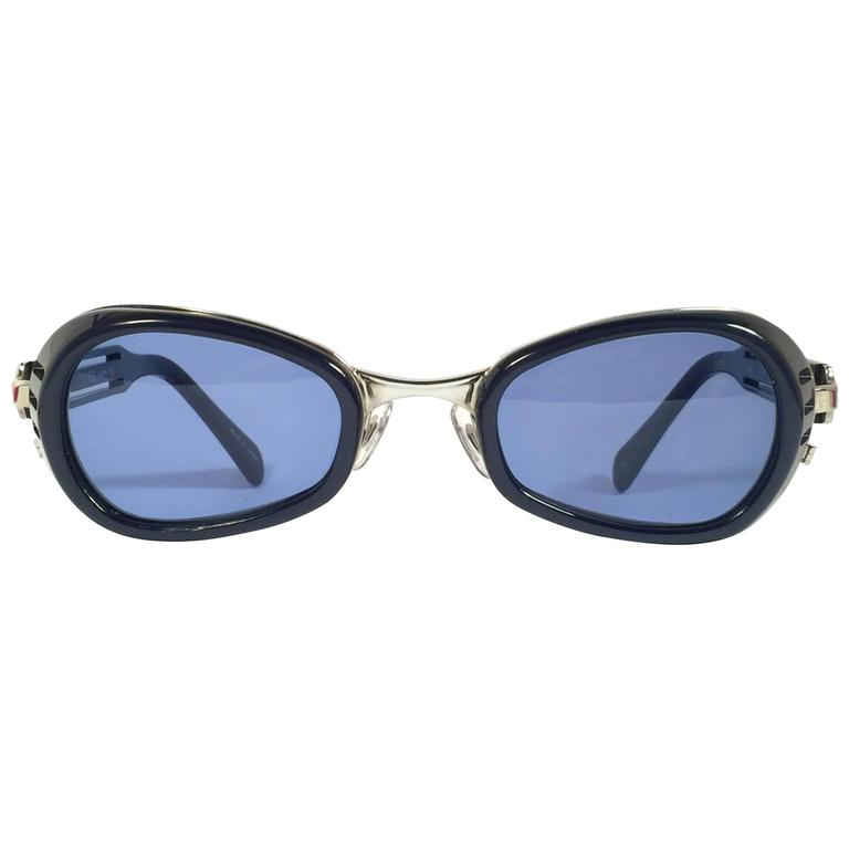 New Vintage Matsuda 10616 Dark Blue & Silver 1990's Made in Japan Sunglasses