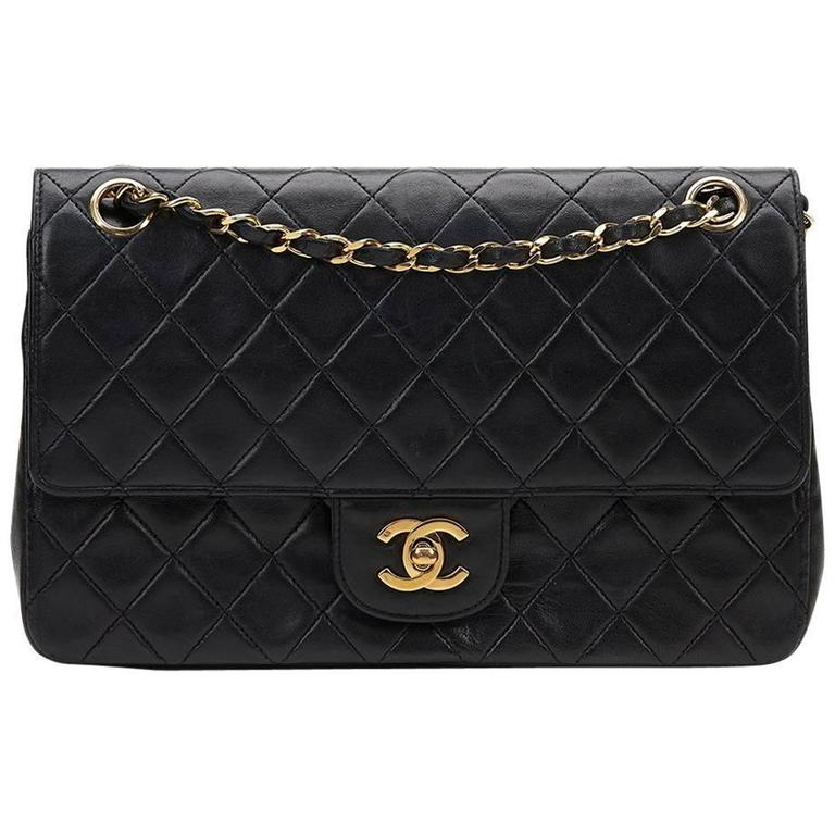 1980s Chanel Black Quilted Lambskin Vintage Medium Classic Double Flap Bag For Sale