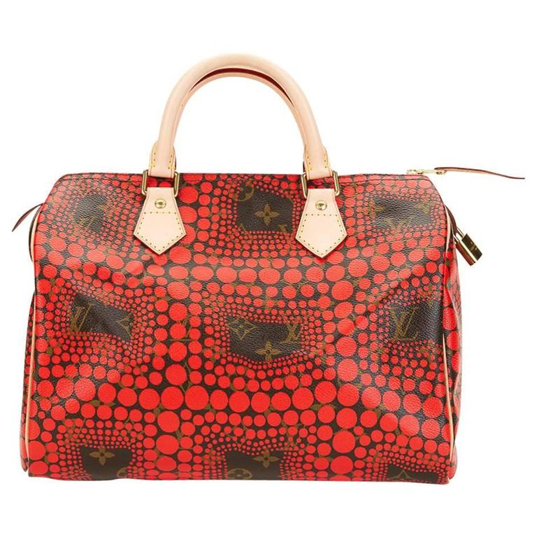 2010s Louis Vuitton Coated Canvas Yayoi Kusama Red Waves Monogram Speedy 30 1