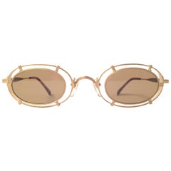 New Vintage Matsuda 10607 Oval Gold Matte Inserts 1990 Made in Japan Sunglasses
