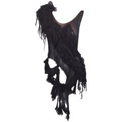 S/S 2003 Alexander McQueen Irere Shipwreck Black Sheer Silk Top 40