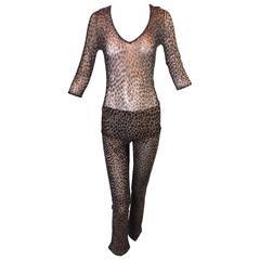 1990's Dolce & Gabbana Sheer Mesh Leopard Pants & Top Ensemble XS/S