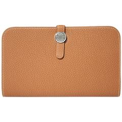 "Hermes Wallet ""Dogon duo"" Veau Leather Gold Color PHW"