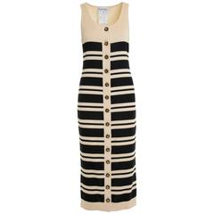 1990s Chanel Boutique Black and Cream Striped Dress