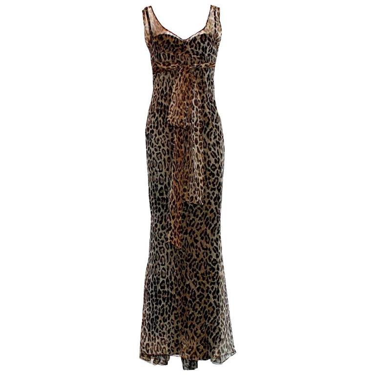 Stunning Dolce & Gabbana Corset Leopard Cheetah Print Silk Gown