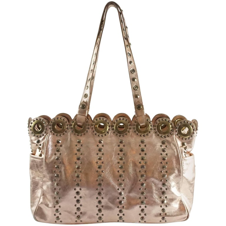 Isabella Fiore Rose Gold Leather Bag With Grommets For