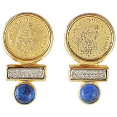 Ben Amun Gold Coin Rhinestone Earrings