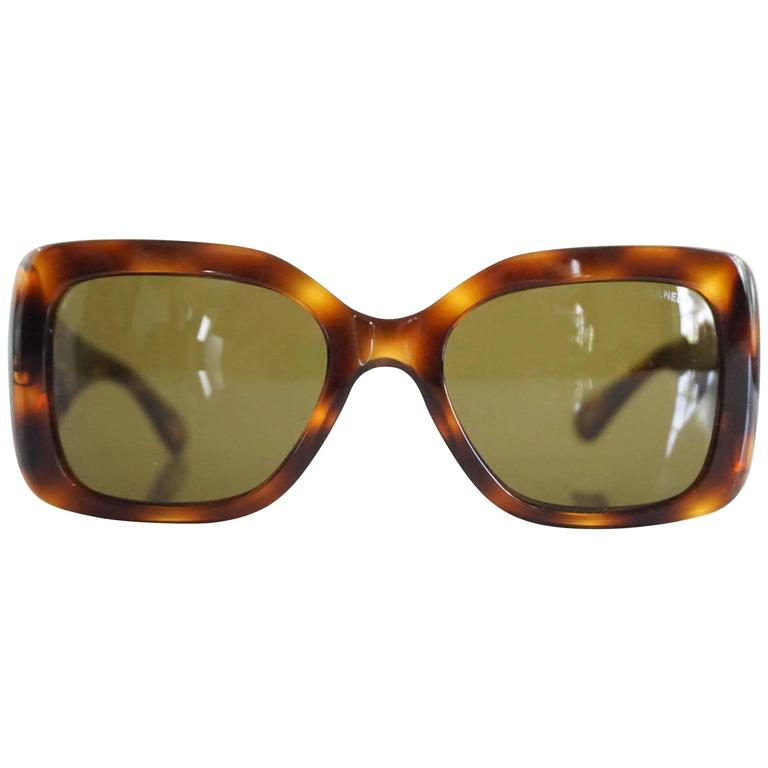 Chanel Tortoise Sunglasses  chanel tortoise s sunglasses with quilted sides for at
