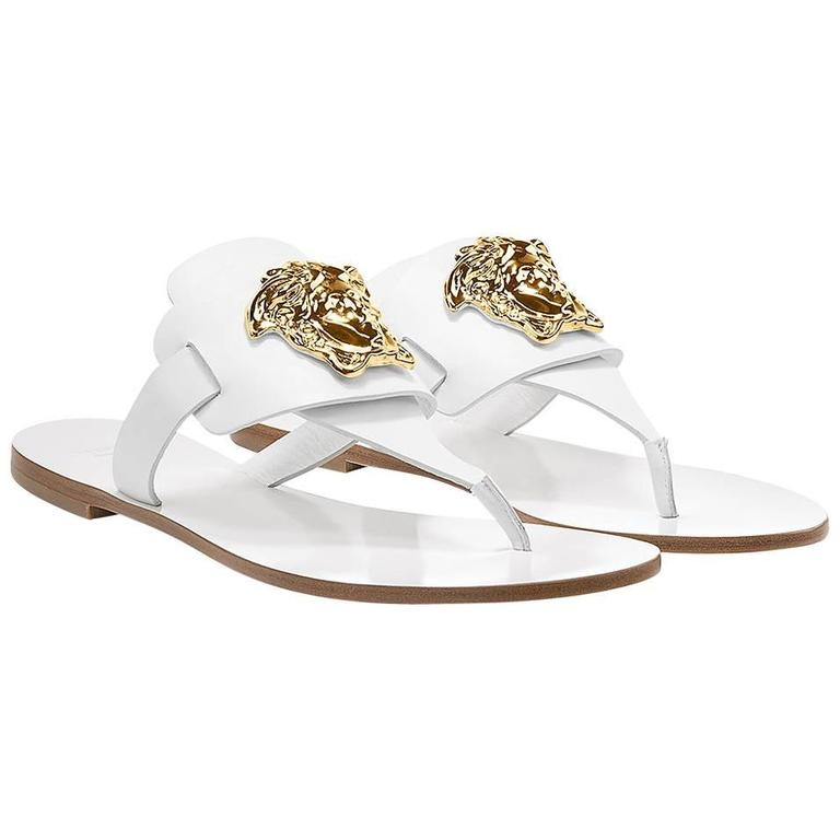 New Versace Palazzo White Leather Flat Thong Sandals At