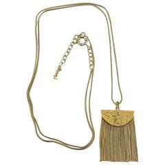 Yves Saint Laurent Golden Brass Fringe Pendant Long Necklace