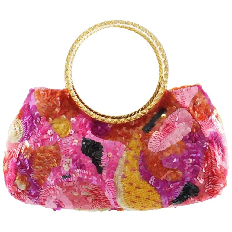 Badgley Mischka Pink and Red Sequin Evening Bag with Gold Handles 1