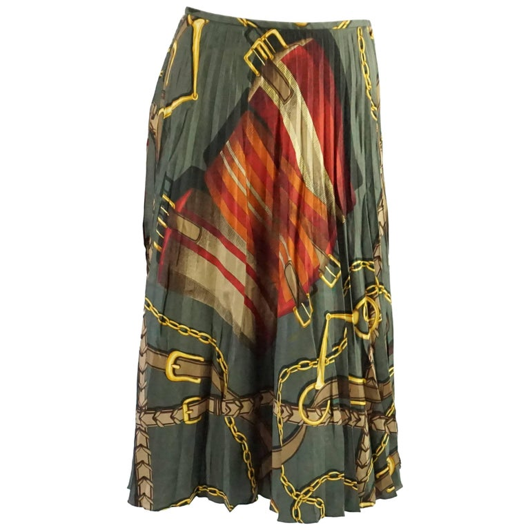 Ralph Lauren Olive Green Pleated Silk Skirt with Multicolored Design - 4