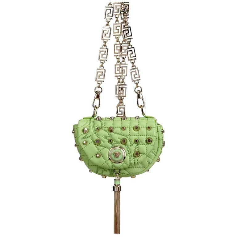 Versace Green Baroque Studded Nappa Crossbody Shoulder Bag Clutch