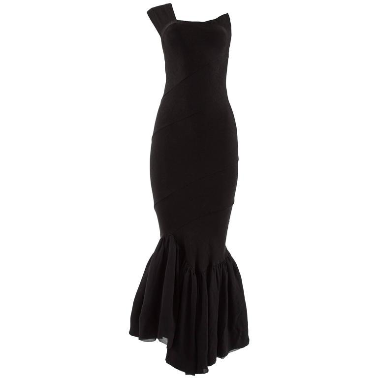 Comme des Garcons Spring-Summer 1986 black bias cut evening dress