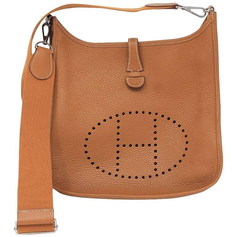 c8a490e2516e Hermes Evelyne III PM Gold Clemence Leather R in Square Handbag 2014 For  Sale