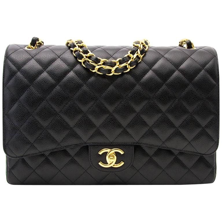 Chanel Black Maxi Caviar Classic Double Flap Bag  1