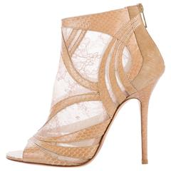 Jimmy Choo New Nude Snake Leather Open Toe Ankle Booties Heels