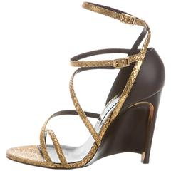 Lanvin New Gold Snake Brown Leather Wedge Strappy Sandals Heels