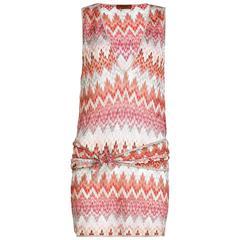 Missoni Pink Crochet Knit Belted Mini Dress
