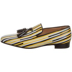 Christian Louboutin New Men's Striped Leather Loafers Flats Slippers