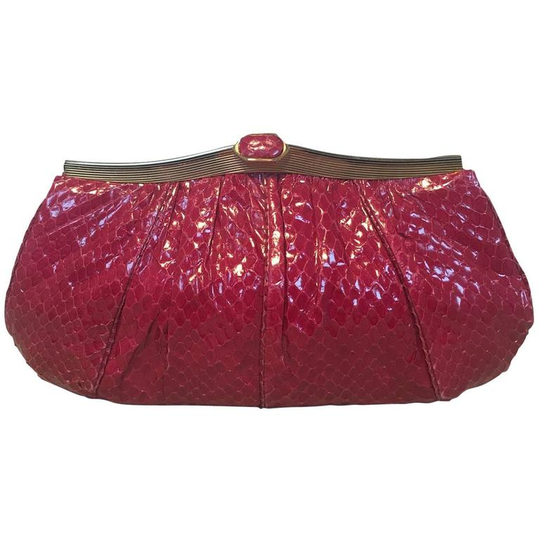 Judith Leiber Vintage Maroon Rose Snakeskin Clutch  For Sale