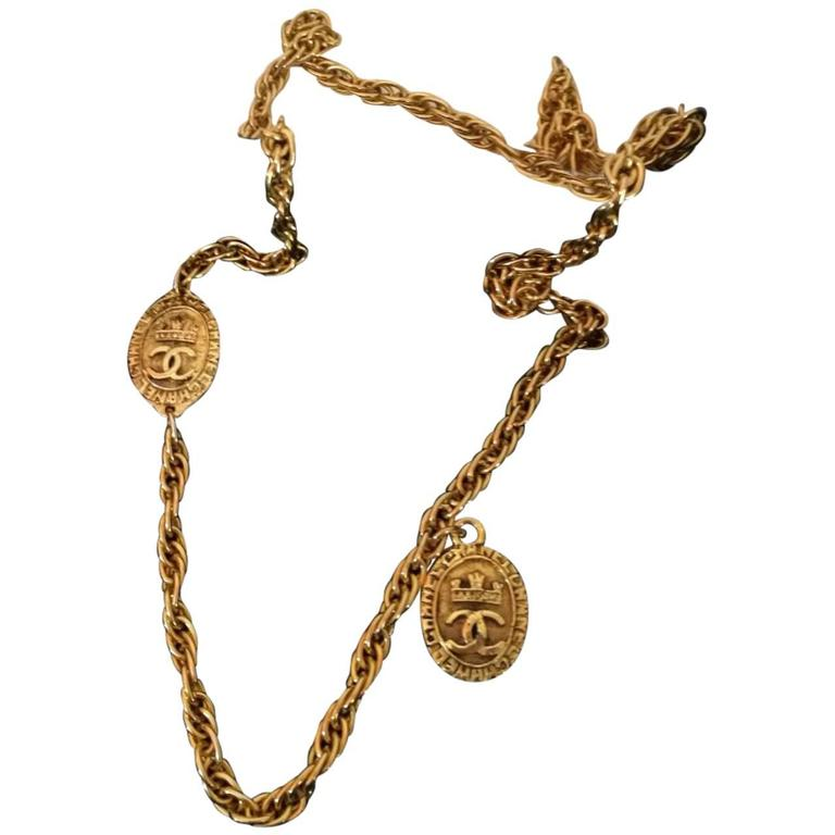Chanel Gold Tone with CC crown pendants 1