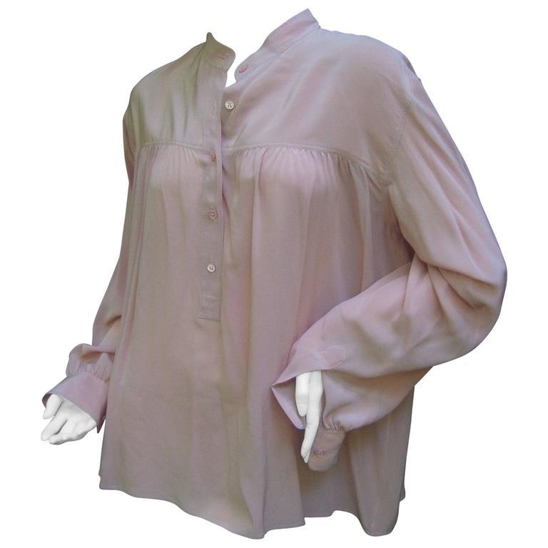 Saint Laurent Rive Gauche Mauve Pink Silk Tunic Blouse ca 1970s