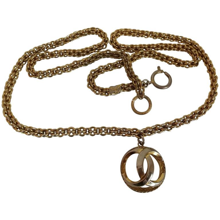Chanel Gold Tone with CC logo Pendant Necklace 1