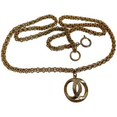 Chanel Gold Tone with CC logo Pendant Necklace