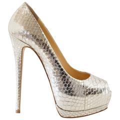 GIUSEPPE ZANOTTI Shoe Silver Snakeskin Peeptoe Platform  38 / 8