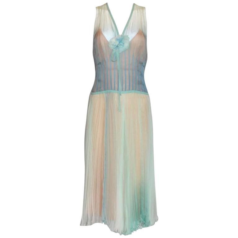Chanel Fairytale Seafoam Ensemble Ombre Plissee Dress Camellia Brooch & Cardigan