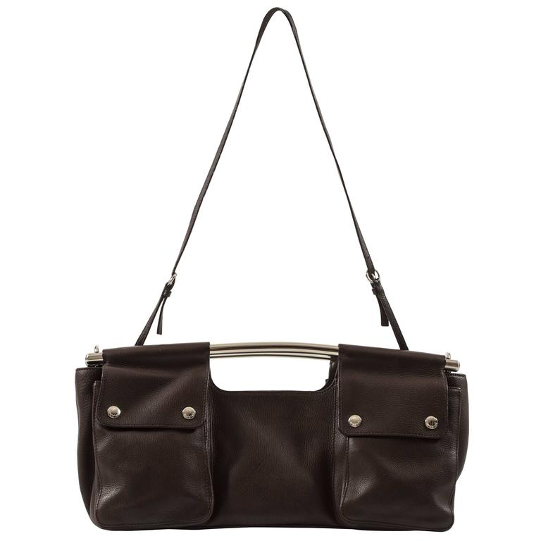 Prada Spring-Summer 2003 brown leather metal bar bag 1