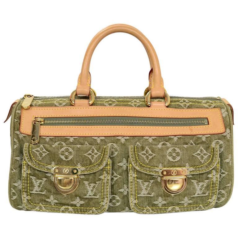 Louis Vuitton Green Monogram Denim Noe Speedy Bag For Sale