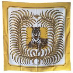 Hermes Vintage Tiger Tigre Royal Silk Scarf in Yellow