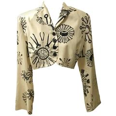 Todd Oldham 1980s Cream and Black Silk Tool Print Crop Jacket