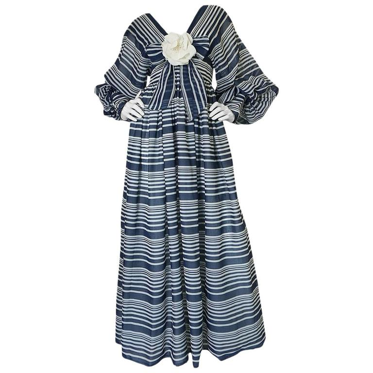 c1972 Geoffrey Beene Plunging Striped Summer Dress