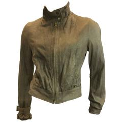 Mike & Chris Taupe Leather Jacket With Neck Scarf