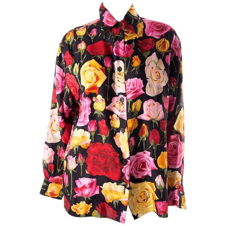 Gucci Rose Print Floral Silk Shirt 1