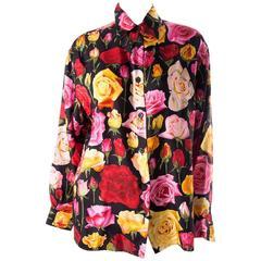 Gucci Rose Print Floral Silk Shirt