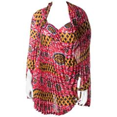 Junya Watanabe Comme Des Garcons 2008 Pleated Tribal Print Dress