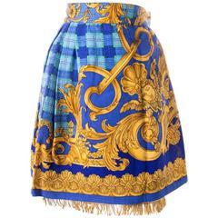 Gianni Versace Baroque Print Gold Fringe Skirt