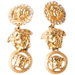Gianni Versace Medusa Head Rhinestone Drop Earrings