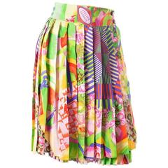 Gianni Versace Silk Pastel Multicolored Pleated Skirt